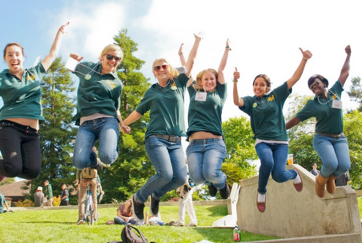 Orientation staff - jumping with hands in the air